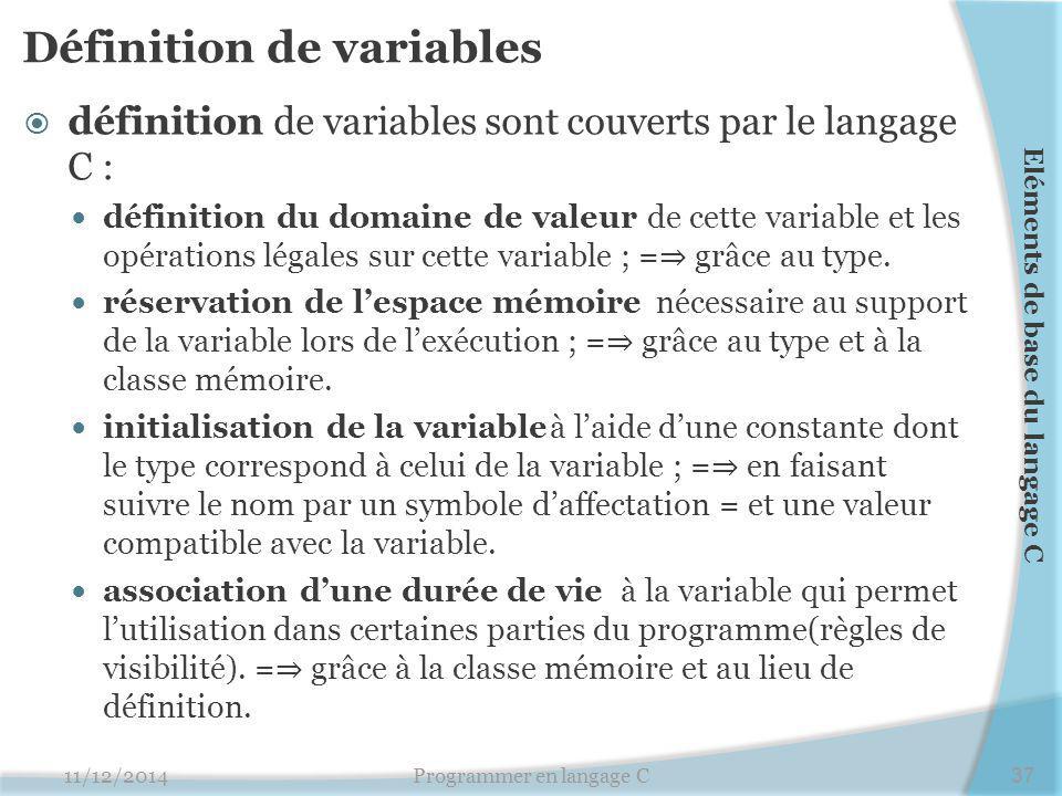 Définition de variables  définition de variables sont couverts par le langage C : définition du domaine de valeur de cette variable et les opérations légales sur cette variable ; = ⇒ grâce au type.