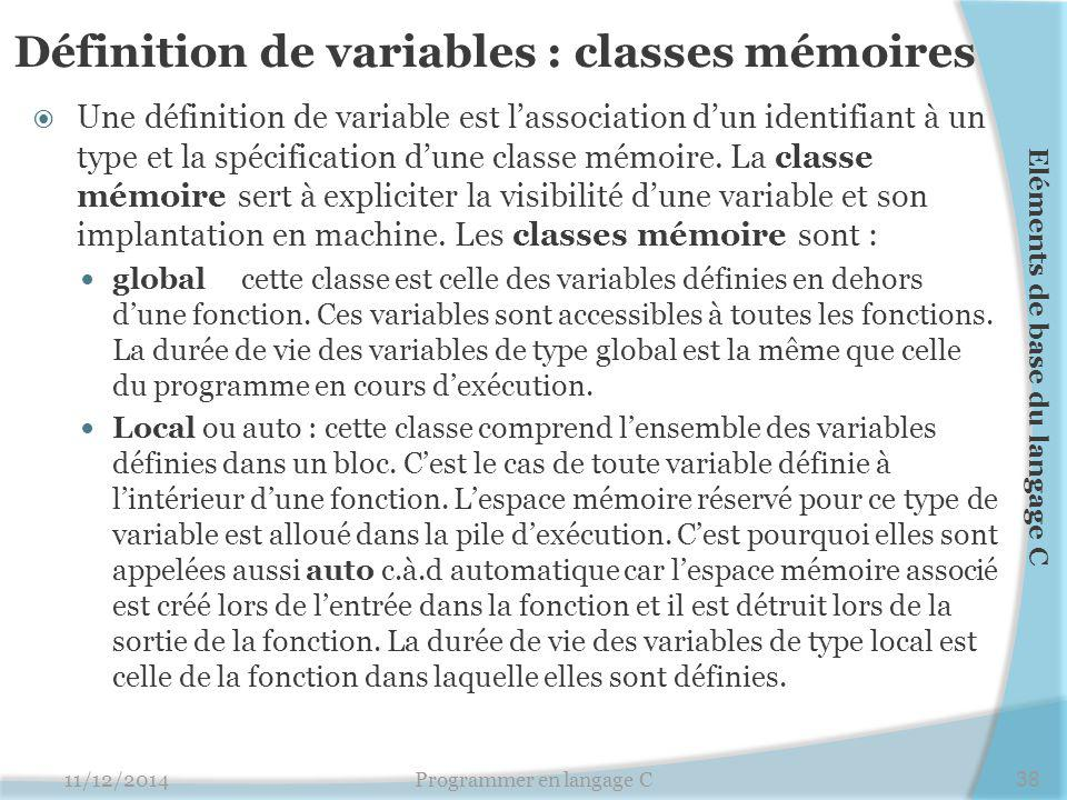 Définition de variables : classes mémoires  Une définition de variable est l'association d'un identifiant à un type et la spécification d'une classe