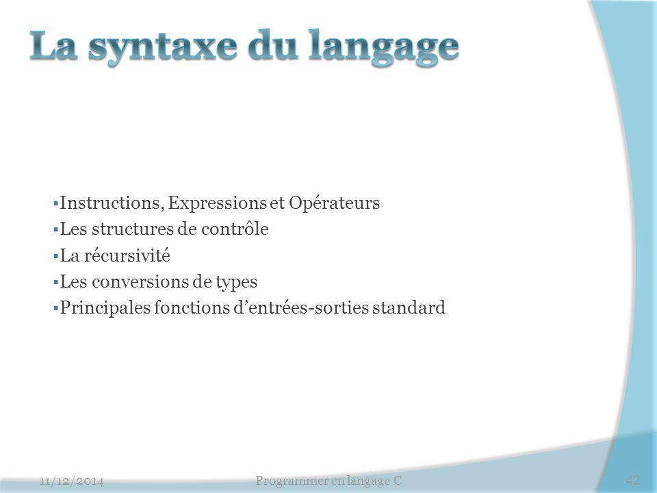  Instructions, Expressions et Opérateurs  Les structures de contrôle  La récursivité  Les conversions de types  Principales fonctions d'entrées-s