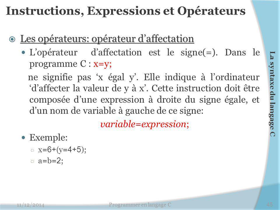 Instructions, Expressions et Opérateurs  Les opérateurs: opérateur d'affectation L'opérateur d'affectation est le signe(=). Dans le programme C : x=y