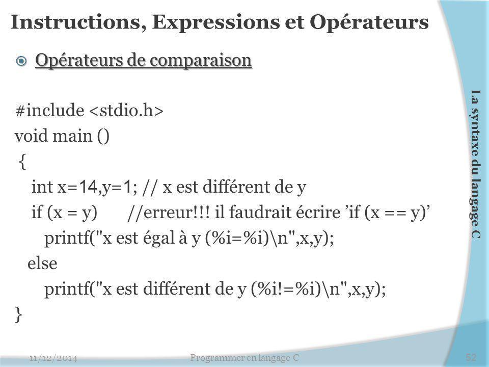 Instructions, Expressions et Opérateurs  Opérateurs de comparaison #include void main () { int x= 14,y= 1 ; // x est différent de y if (x = y) //erreur!!.
