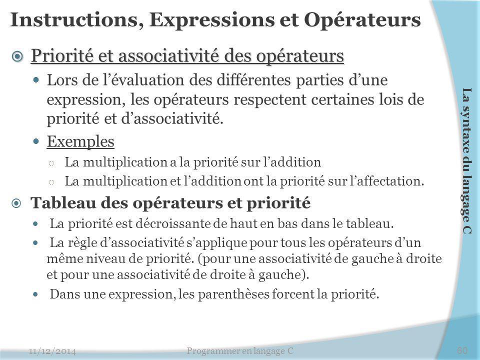 Instructions, Expressions et Opérateurs  Priorité et associativité des opérateurs Lors de l'évaluation des différentes parties d'une expression, les opérateurs respectent certaines lois de priorité et d'associativité.