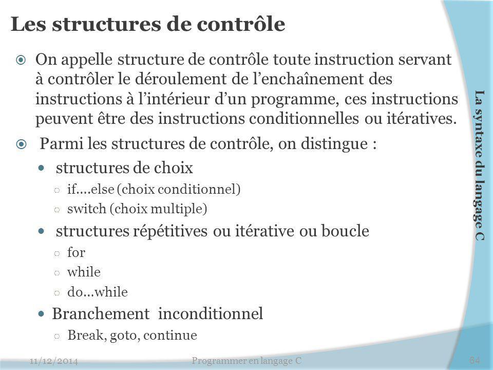 Les structures de contrôle  On appelle structure de contrôle toute instruction servant à contrôler le déroulement de l'enchaînement des instructions à l'intérieur d'un programme, ces instructions peuvent être des instructions conditionnelles ou itératives.