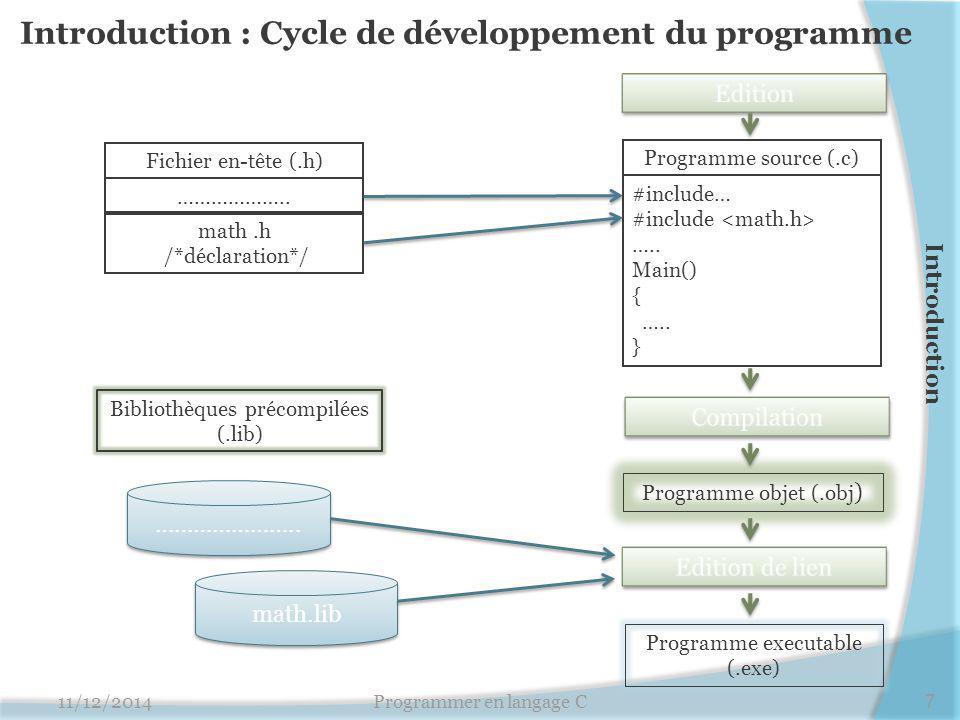 Introduction : Cycle de développement du programme 11/12/20147Programmer en langage C Programme source (.c) #include… #include ….. Main() { ….. } Prog