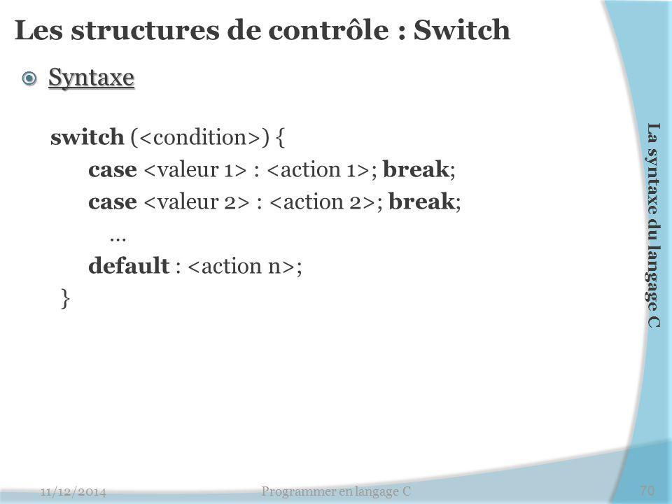 Les structures de contrôle : Switch  Syntaxe switch ( ) { case : ; break; … default : ; } 11/12/2014Programmer en langage C70 La syntaxe du langage C