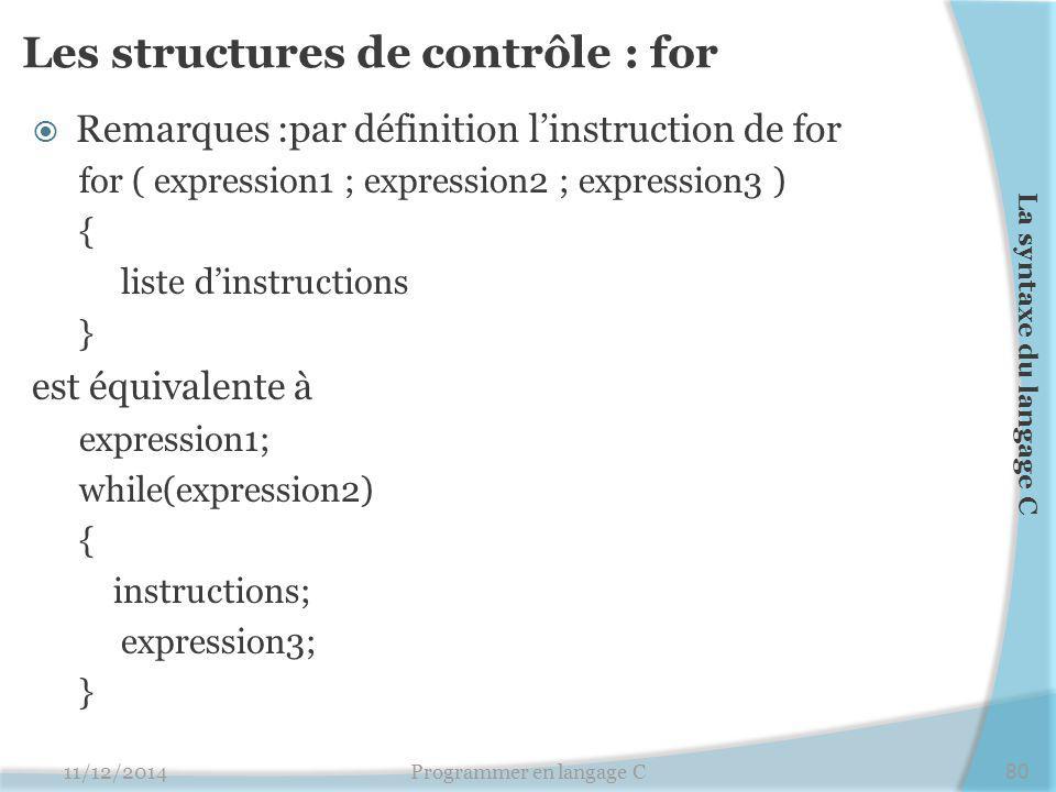 Les structures de contrôle : for  Remarques :par définition l'instruction de for for ( expression1 ; expression2 ; expression3 ) { liste d'instructio