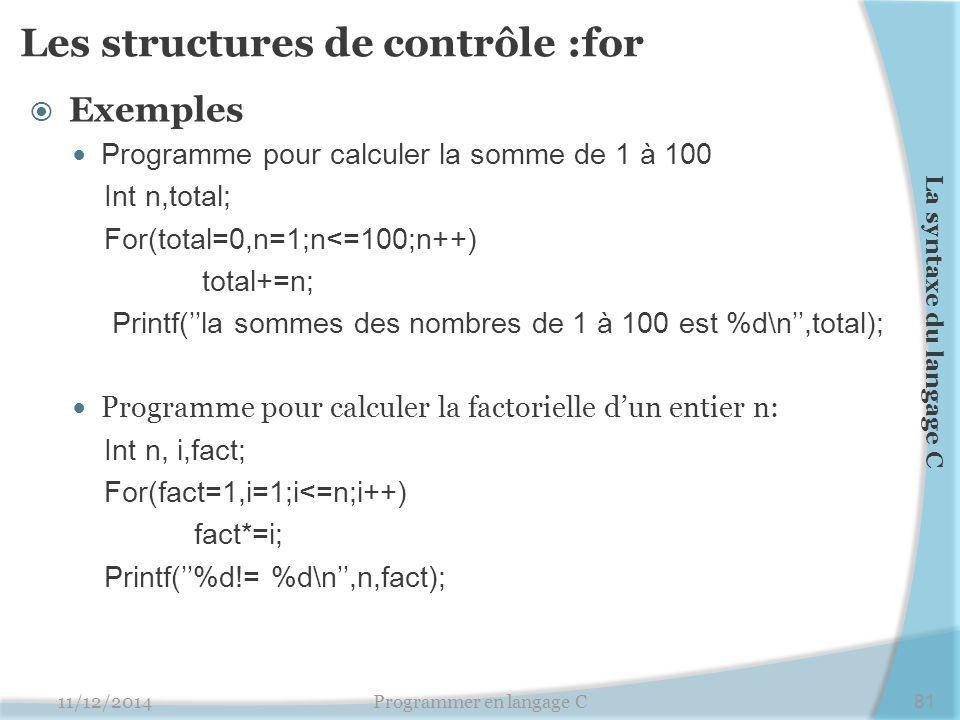 Les structures de contrôle :for  Exemples Programme pour calculer la somme de 1 à 100 Int n,total; For(total=0,n=1;n<=100;n++) total+=n; Printf(''la sommes des nombres de 1 à 100 est %d\n'',total); Programme pour calculer la factorielle d'un entier n: Int n, i,fact; For(fact=1,i=1;i<=n;i++) fact*=i; Printf(''%d!= %d\n'',n,fact); 11/12/2014Programmer en langage C81 La syntaxe du langage C