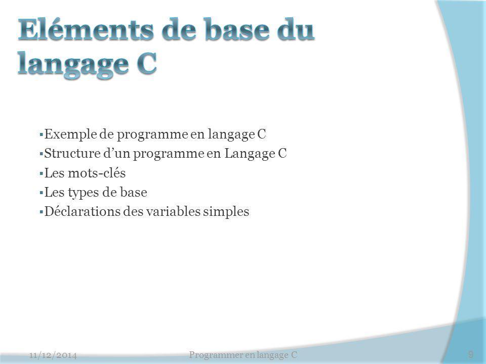  Exemple de programme en langage C  Structure d'un programme en Langage C  Les mots-clés  Les types de base  Déclarations des variables simples 1