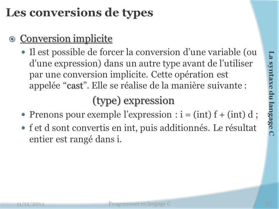Les conversions de types  Conversion implicite cast Il est possible de forcer la conversion d'une variable (ou d'une expression) dans un autre type avant de l'utiliser par une conversion implicite.