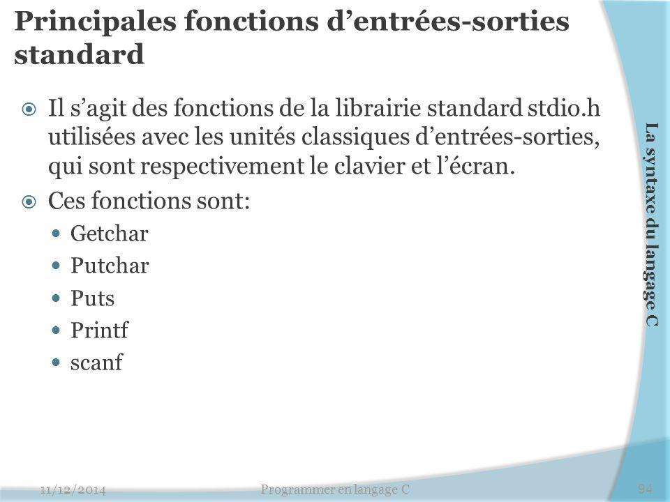 Principales fonctions d'entrées-sorties standard 11/12/2014Programmer en langage C94 La syntaxe du langage C  Il s'agit des fonctions de la librairie