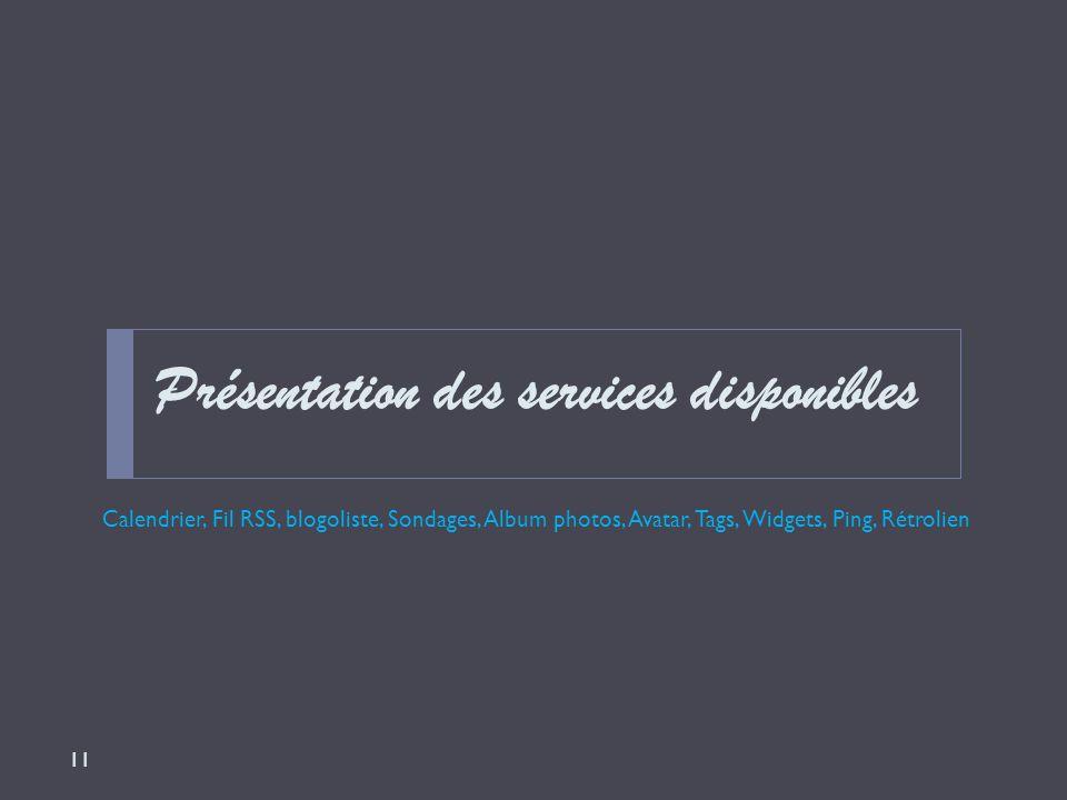 Présentation des services disponibles Calendrier, Fil RSS, blogoliste, Sondages, Album photos, Avatar, Tags, Widgets, Ping, Rétrolien 11