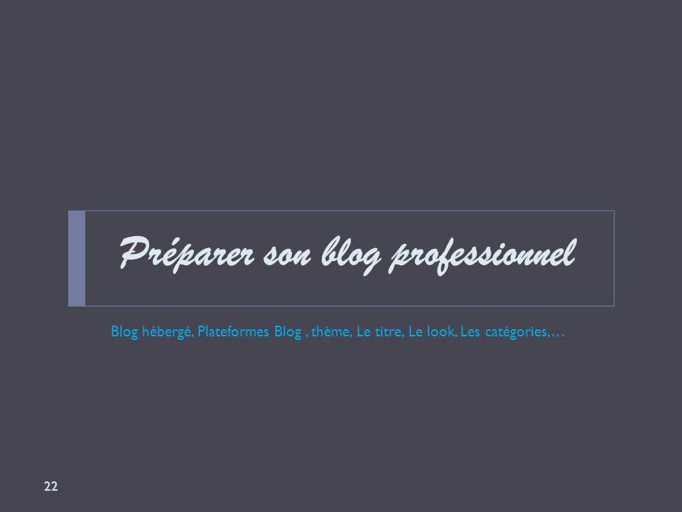 Préparer son blog professionnel Blog hébergé, Plateformes Blog, thème, Le titre, Le look, Les catégories,… 22
