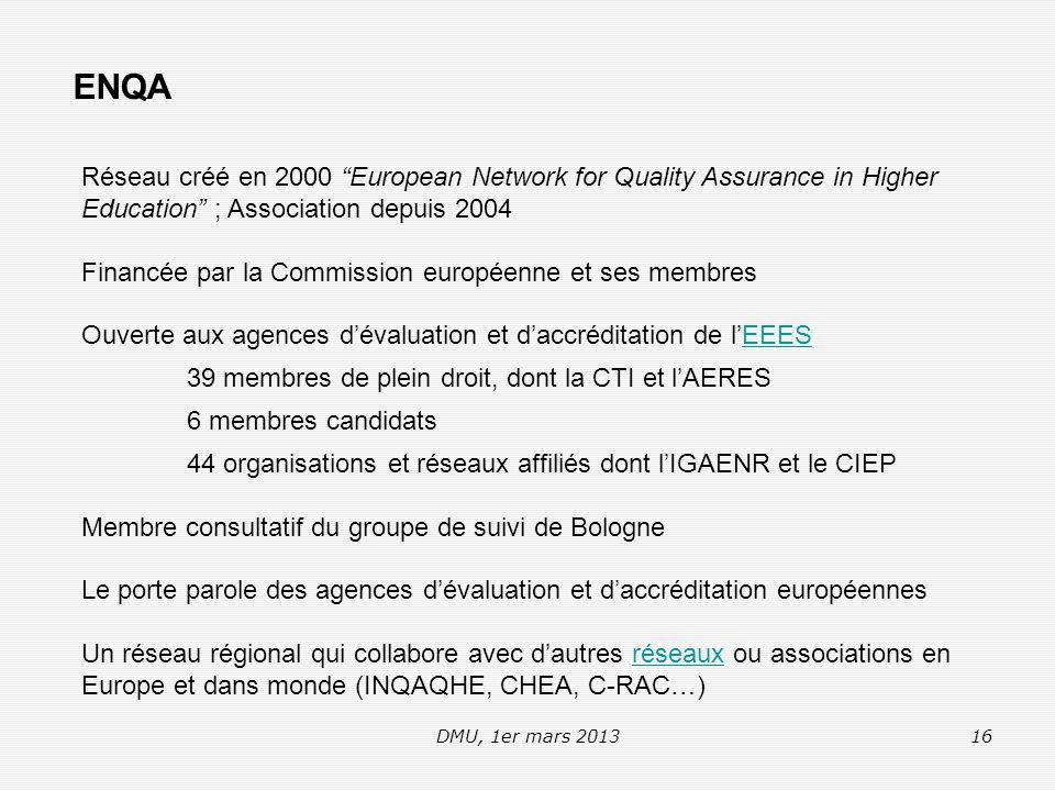 DMU, 1er mars 201316 ENQA Réseau créé en 2000 European Network for Quality Assurance in Higher Education ; Association depuis 2004 Financée par la Commission européenne et ses membres Ouverte aux agences d'évaluation et d'accréditation de l'EEESEEES 39 membres de plein droit, dont la CTI et l'AERES 6 membres candidats 44 organisations et réseaux affiliés dont l'IGAENR et le CIEP Membre consultatif du groupe de suivi de Bologne Le porte parole des agences d'évaluation et d'accréditation européennes Un réseau régional qui collabore avec d'autres réseaux ou associations en Europe et dans monde (INQAQHE, CHEA, C-RAC…)réseaux