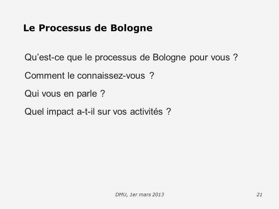 DMU, 1er mars 201321 Le Processus de Bologne Qu'est-ce que le processus de Bologne pour vous .