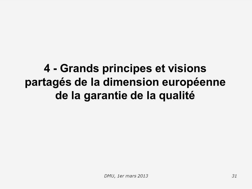 DMU, 1er mars 201331 4 - Grands principes et visions partagés de la dimension européenne de la garantie de la qualité