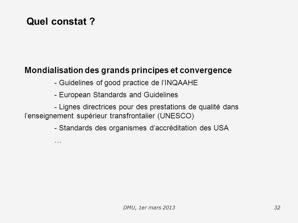 DMU, 1er mars 201332 Mondialisation des grands principes et convergence - Guidelines of good practice de l'INQAAHE - European Standards and Guidelines - Lignes directrices pour des prestations de qualité dans l'enseignement supérieur transfrontalier (UNESCO) - Standards des organismes d'accréditation des USA … Quel constat