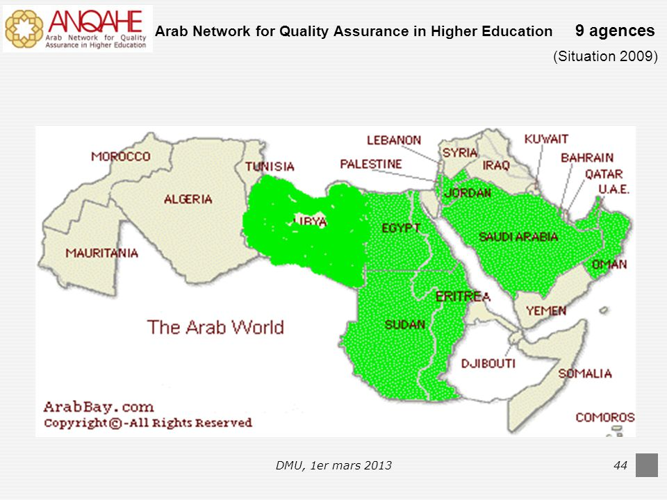 DMU, 1er mars 201344 Arab Network for Quality Assurance in Higher Education 9 agences (Situation 2009)