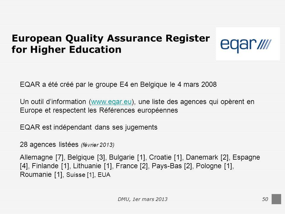 DMU, 1er mars 201350 European Quality Assurance Register for Higher Education EQAR a été créé par le groupe E4 en Belgique le 4 mars 2008 Un outil d'information (www.eqar.eu), une liste des agences qui opèrent en Europe et respectent les Références européenneswww.eqar.eu EQAR est indépendant dans ses jugements 28 agences listées (février 2013) Allemagne [7], Belgique [3], Bulgarie [1], Croatie [1], Danemark [2], Espagne [4], Finlande [1], Lithuanie [1], France [2], Pays-Bas [2], Pologne [1], Roumanie [1], Suisse [1], EUA