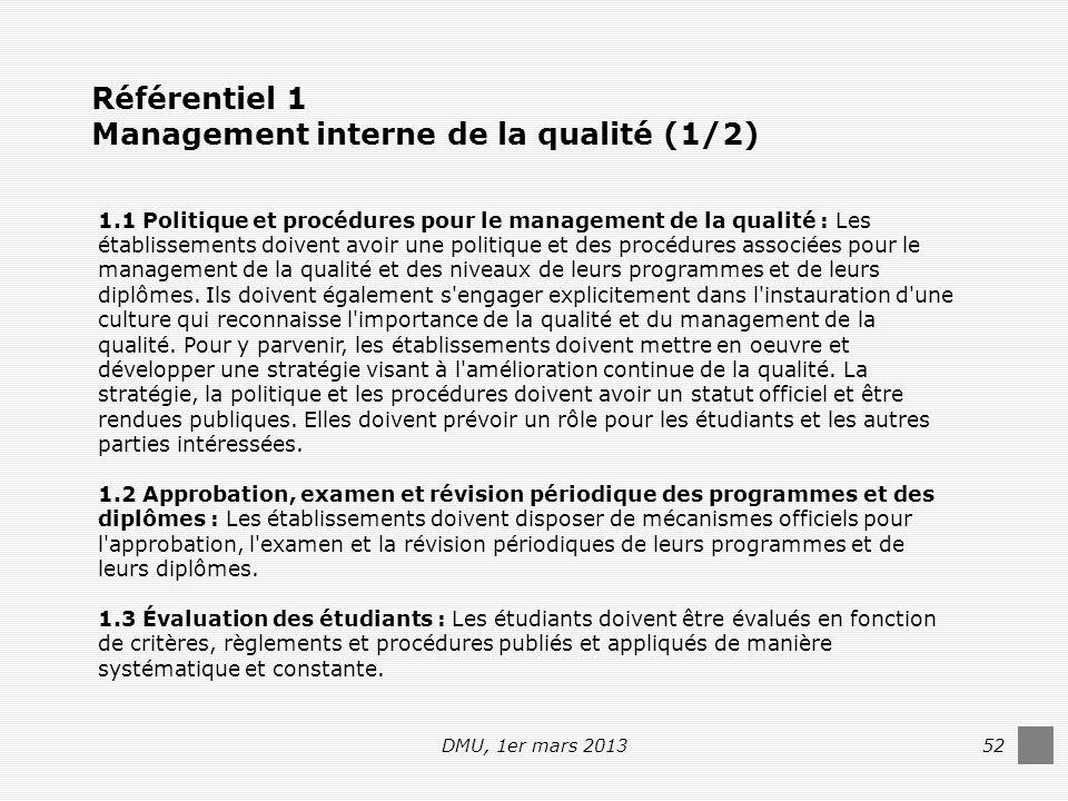 DMU, 1er mars 201352 Référentiel 1 Management interne de la qualité (1/2) 1.1 Politique et procédures pour le management de la qualité : Les établissements doivent avoir une politique et des procédures associées pour le management de la qualité et des niveaux de leurs programmes et de leurs diplômes.
