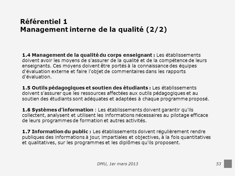 DMU, 1er mars 201353 1.4 Management de la qualité du corps enseignant : Les établissements doivent avoir les moyens de s assurer de la qualité et de la compétence de leurs enseignants.