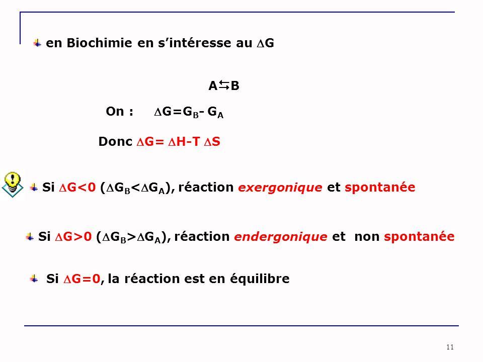 11 ABAB On : G=G B - G A Si G<0 (G B <G A ), réaction exergonique et spontanée Si G>0 (G B >G A ), réaction endergonique et non spontanée Si G=0, la réaction est en équilibre Donc G= H-T S en Biochimie en s'intéresse au G