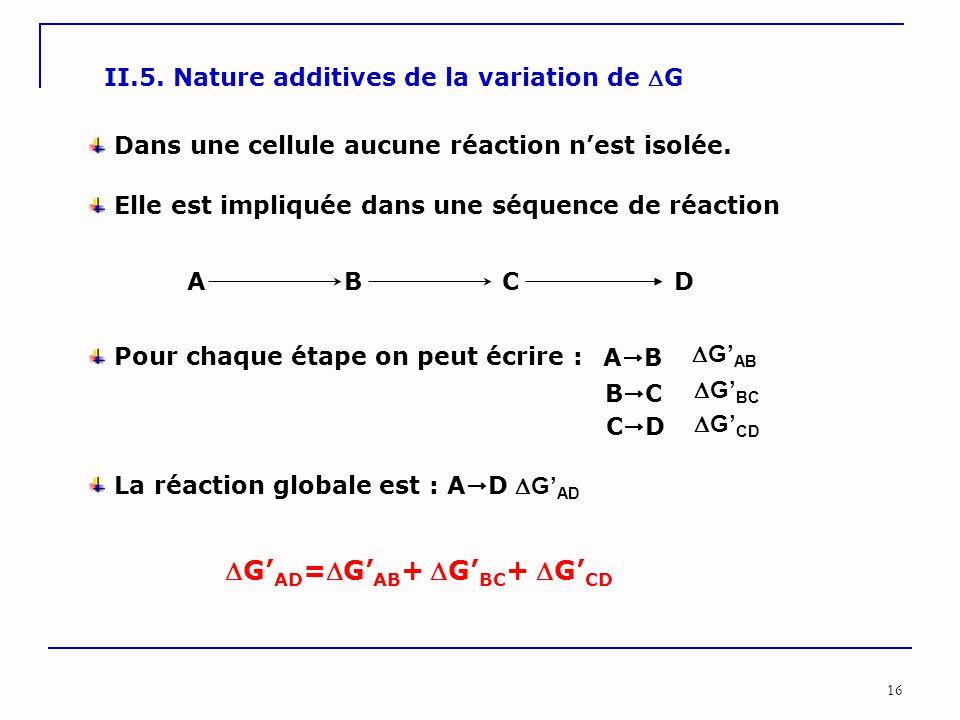 16 II.5. Nature additives de la variation de G Dans une cellule aucune réaction n'est isolée. A B C D Elle est impliquée dans une séquence de réactio