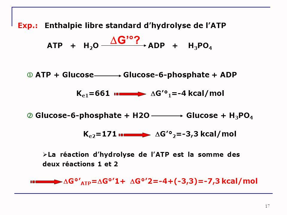 17 Exp.:Enthalpie libre standard d'hydrolyse de l'ATP ATP + H 2 O ADP + H 3 PO 4  G'°?  ATP + Glucose Glucose-6-phosphate + ADP  Glucose-6-phosphat