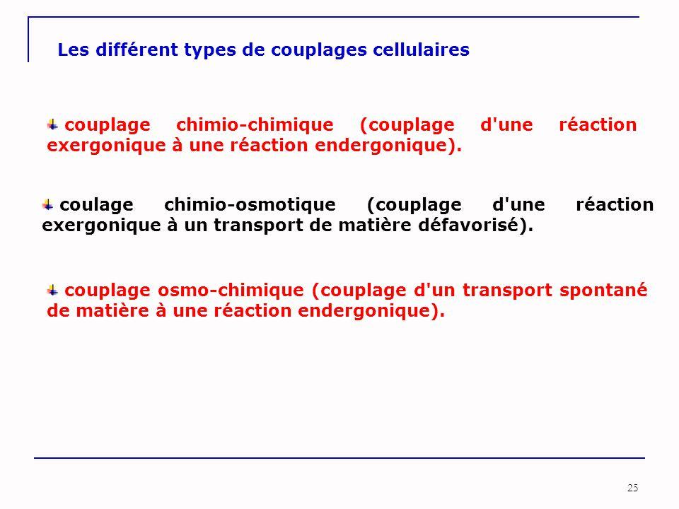25 Les différent types de couplages cellulaires couplage chimio-chimique (couplage d'une réaction exergonique à une réaction endergonique). coulage ch