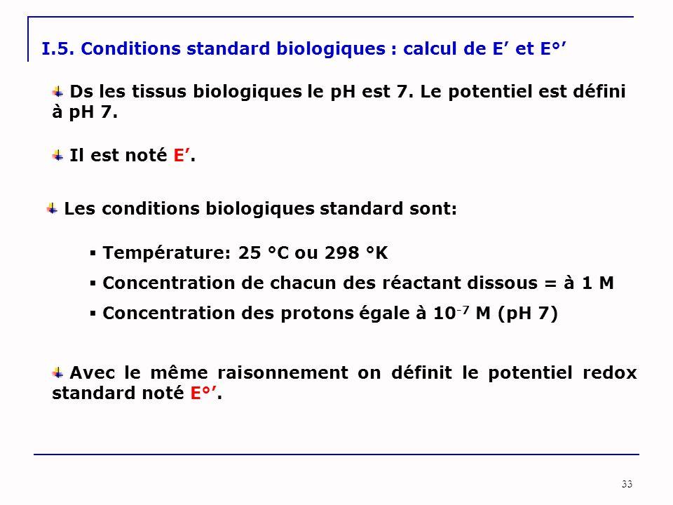 33 I.5. Conditions standard biologiques : calcul de E' et E°' Ds les tissus biologiques le pH est 7. Le potentiel est défini à pH 7. Il est noté E'. L