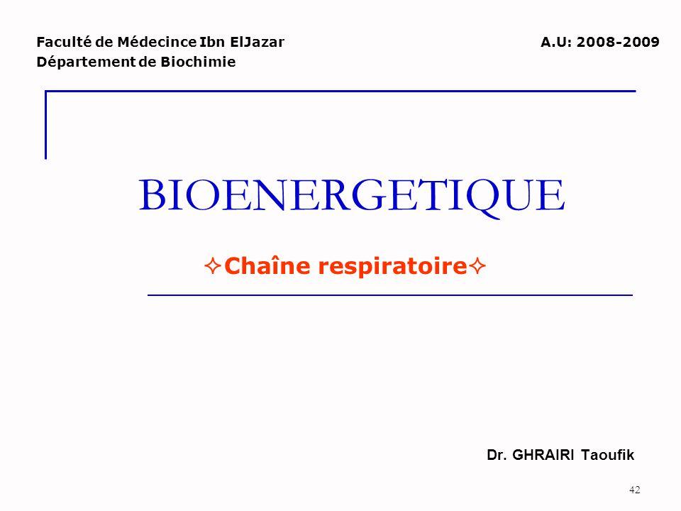 42 BIOENERGETIQUE Dr. GHRAIRI Taoufik Faculté de Médecince Ibn ElJazar Département de Biochimie  Chaîne respiratoire  A.U: 2008-2009