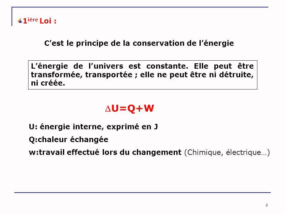 6 1 ière Loi : C'est le principe de la conservation de l'énergie U=Q+W U: énergie interne, exprimé en J Q:chaleur échangée w:travail effectué lors du changement (Chimique, électrique…) L'énergie de l'univers est constante.