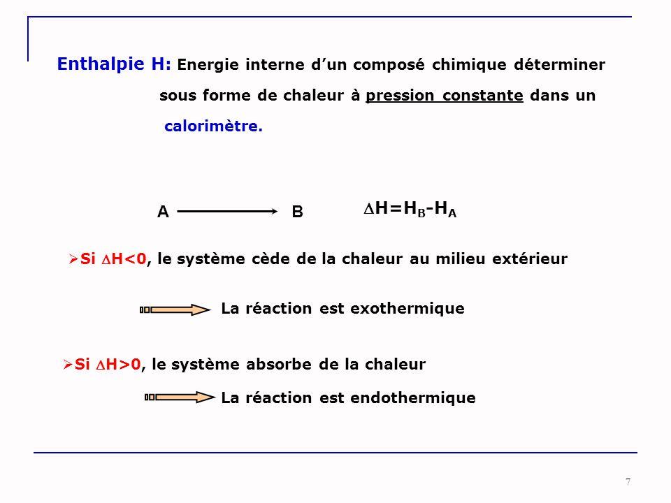 7 Enthalpie H: Energie interne d'un composé chimique déterminer sous forme de chaleur à pression constante dans un calorimètre. ABAB H=H B -H A  Si