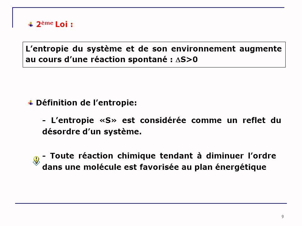 9 Définition de l'entropie: - L'entropie «S» est considérée comme un reflet du désordre d'un système. - Toute réaction chimique tendant à diminuer l'o