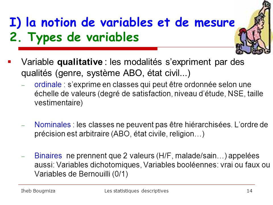 I) la notion de variables et de mesure 2.