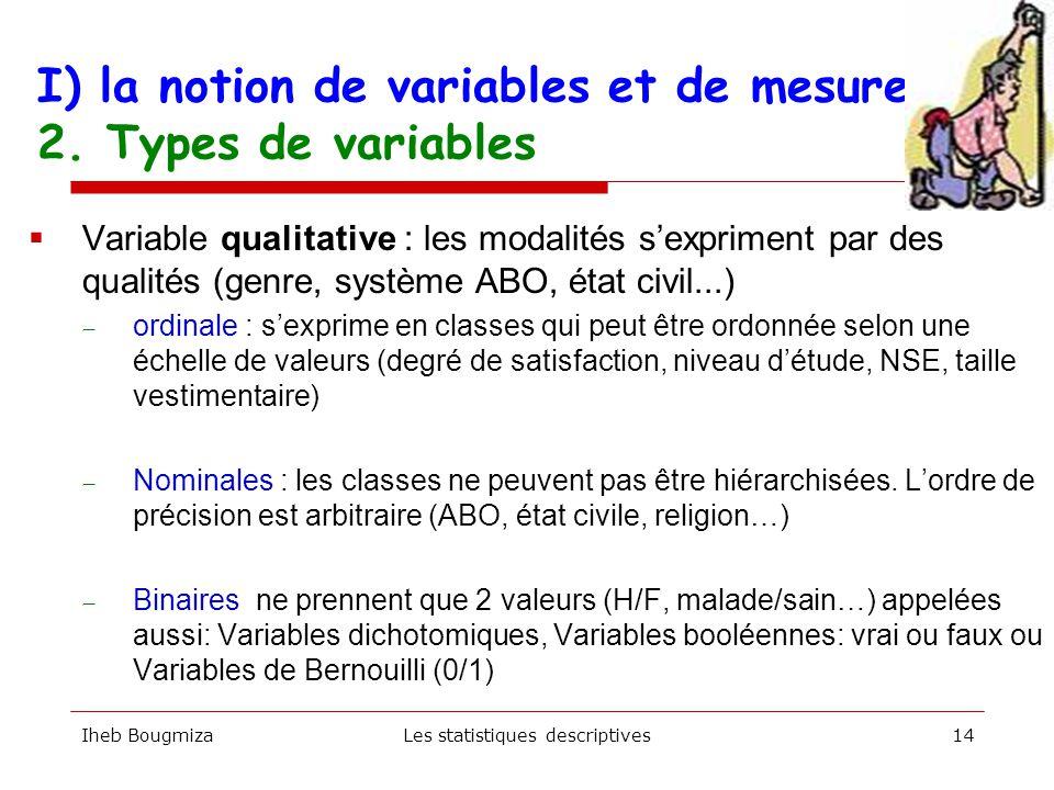 I) la notion de variables et de mesure 2. Types de variables Iheb BougmizaLes statistiques descriptives13  Variable quantitative :les modalités s'exp