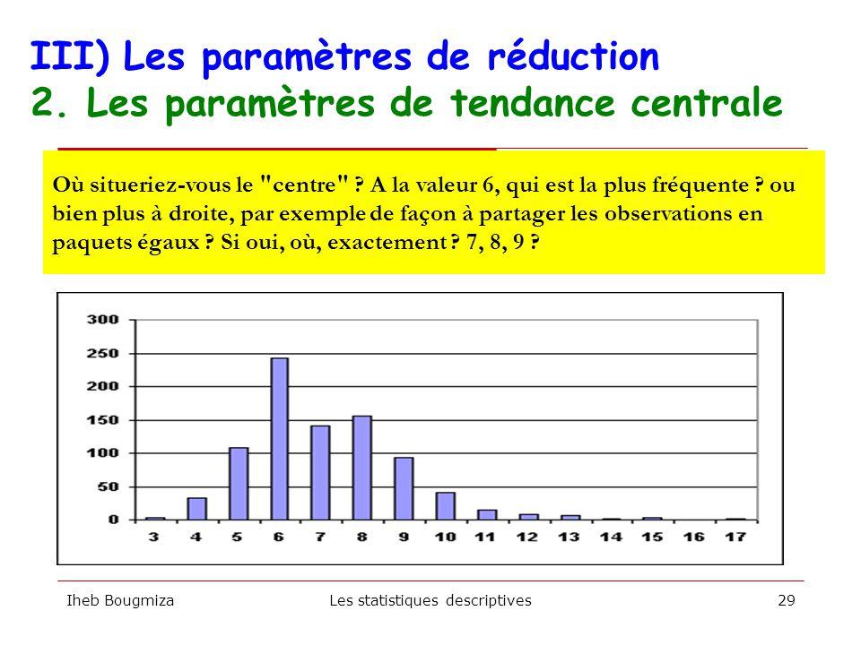 Iheb BougmizaLes statistiques descriptives28 Fréquences Tendancescentrales Dispersion MOYENNE MODE MEDIANE ETENDUE ECART-TYPE III) Les paramètres de r