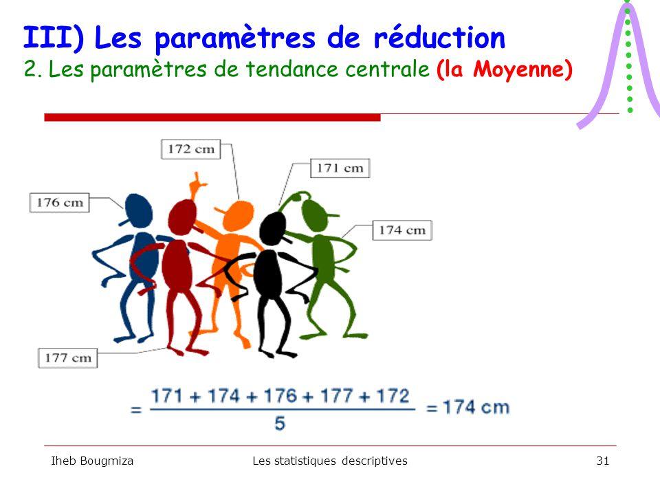 Iheb BougmizaLes statistiques descriptives30  Mesure la plus connue  Division de la somme de toutes les valeurs de l'échantillon par sa taille (n).