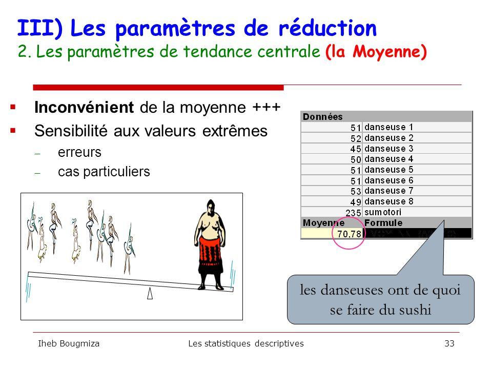 Iheb BougmizaLes statistiques descriptives32  On compare deux classes de 10 élèves III) Les paramètres de réduction 2. Les paramètres de tendance cen