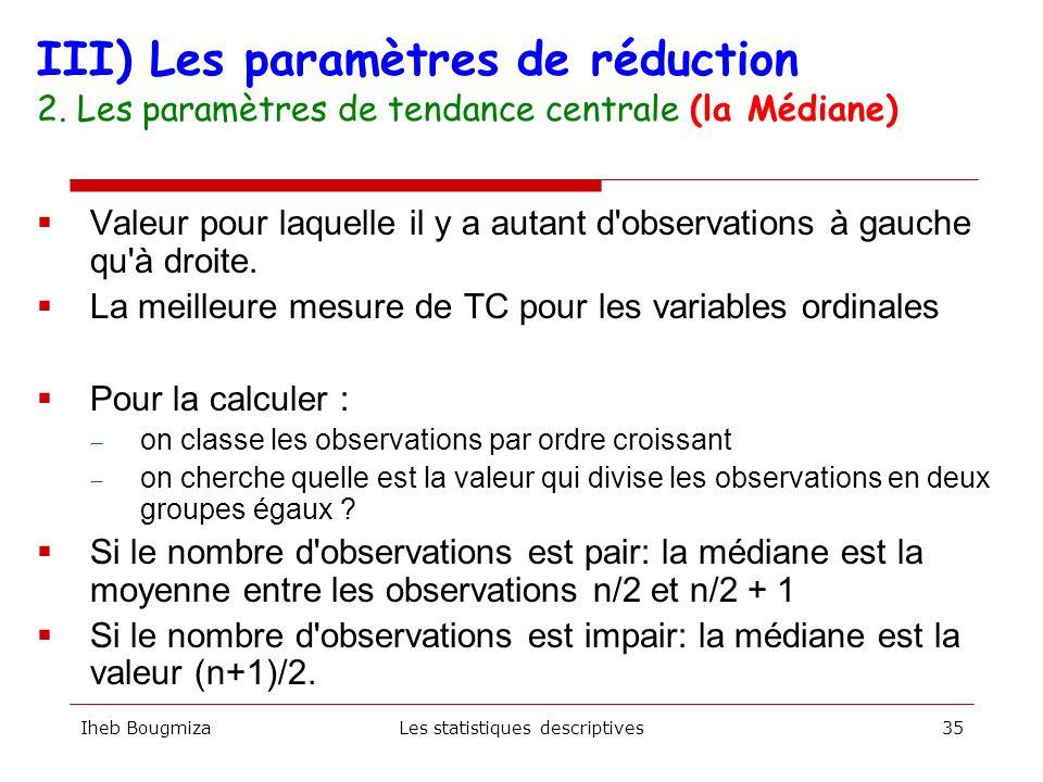 Iheb BougmizaLes statistiques descriptives34 Oops !!!!!!! Existe-t-il un paramètre meilleur que la moyenne pour synthétiser l'information ?
