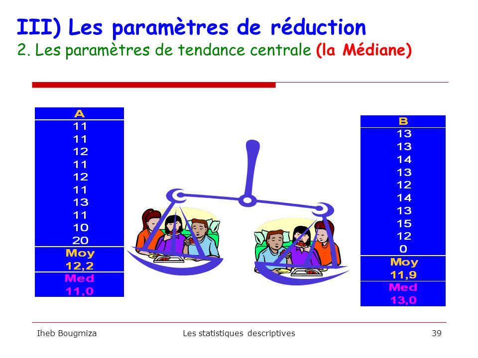 Iheb BougmizaLes statistiques descriptives38 La médiane se situe entre174 et 176 cm. III) Les paramètres de réduction 2. Les paramètres de tendance ce