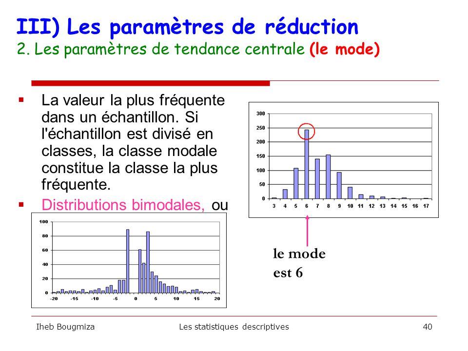 Iheb BougmizaLes statistiques descriptives39 III) Les paramètres de réduction 2. Les paramètres de tendance centrale (la Médiane)