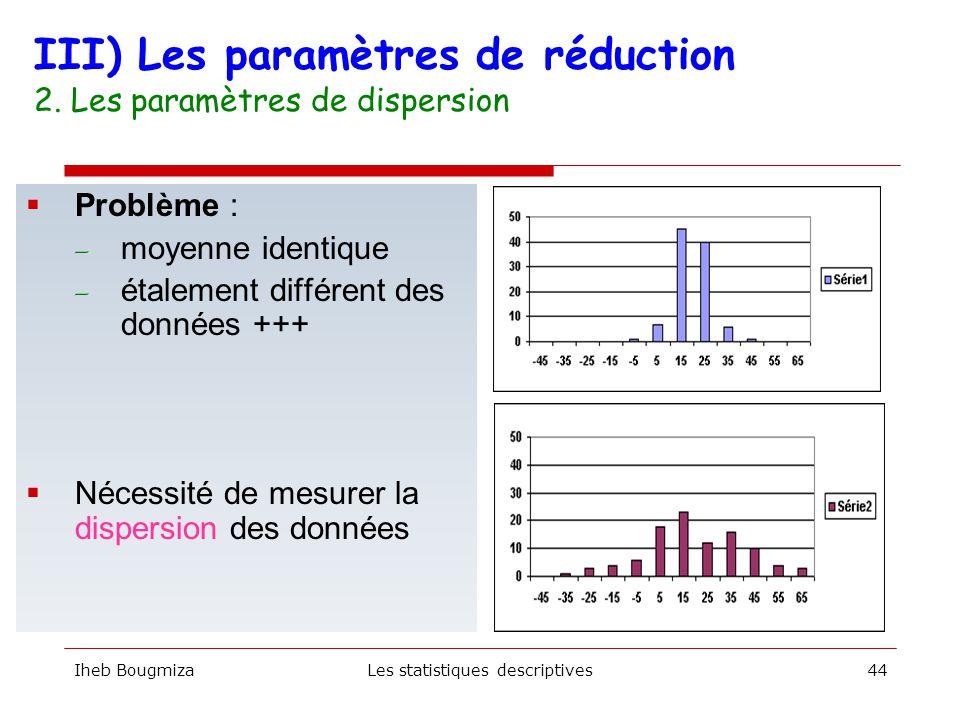 Iheb BougmizaLes statistiques descriptives43 1 – On range en premier lieu les données par ordre croissant Ordre 1 2 3 4 5 6 7 8 9 10 Valeur 105 112 122 124 130 134 137 139 147 160 Me 2 – On calcule la position de Q1 et Q3 P (q1) = n +1/ 4 = 2,75 P (q3) = (n +1/ 4) x 3 = 8,25 q1 = entre 112 et 122 mm q3 = entre 139 et 147 mm 130, 124, 147, 160, 139, 105, 112, 137, 122, 134 III) Les paramètres de réduction 2.