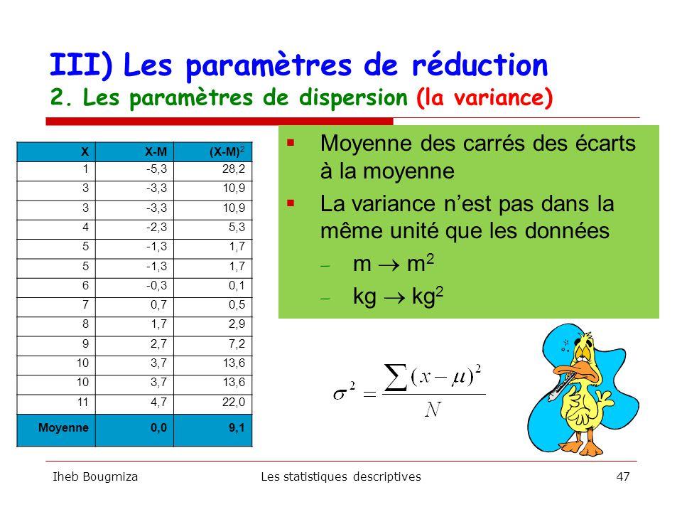 Iheb BougmizaLes statistiques descriptives46  Mesure l écart entre la valeur la plus élevée et la plus petite — Exemple : 220 cm - 171 cm = 49 cm.