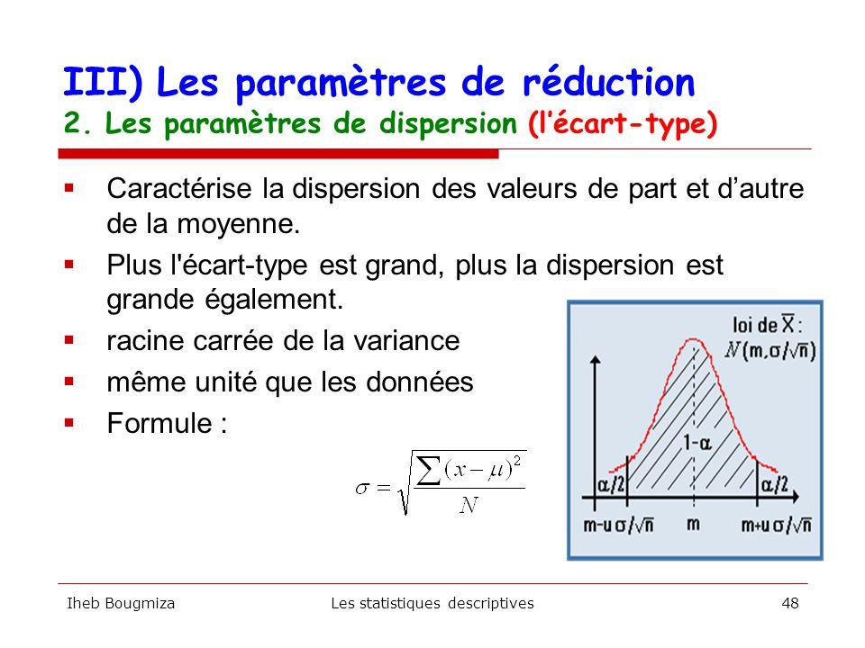 Iheb BougmizaLes statistiques descriptives47  Moyenne des carrés des écarts à la moyenne  La variance n'est pas dans la même unité que les données — m  m 2 — kg  kg 2 XX-M(X-M) 2 1-5,328,2 3-3,310,9 3-3,310,9 4-2,35,3 5-1,31,7 5-1,31,7 6-0,30,1 70,70,5 81,72,9 92,77,2 103,713,6 103,713,6 114,722,0 Moyenne0,09,1 III) Les paramètres de réduction 2.