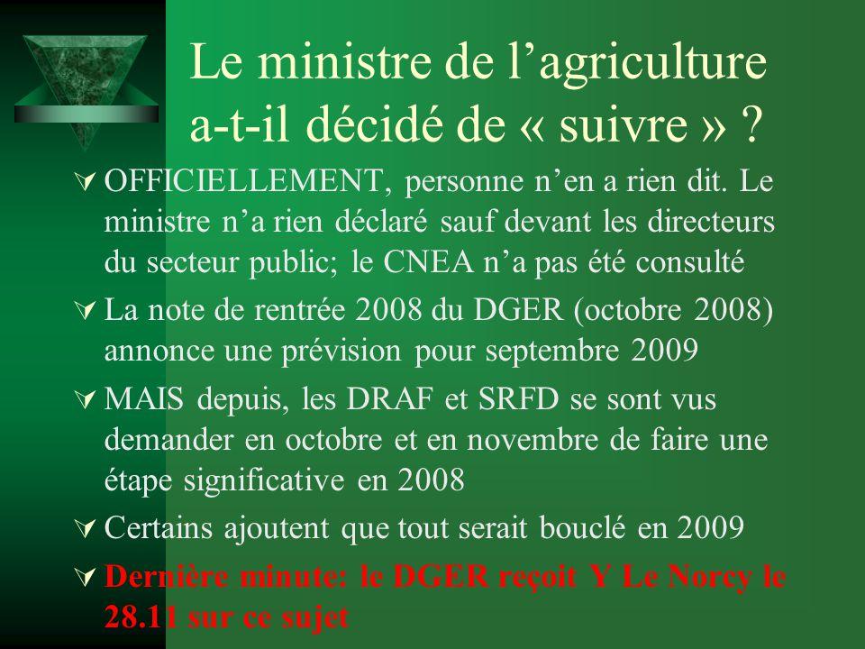 Le ministre de l'agriculture a-t-il décidé de « suivre » .