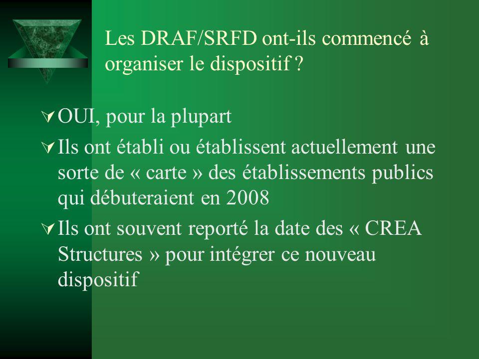 Les DRAF/SRFD ont-ils commencé à organiser le dispositif .