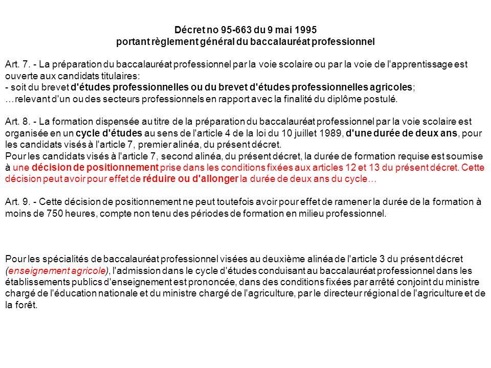 Décret no 95-663 du 9 mai 1995 portant règlement général du baccalauréat professionnel Art.