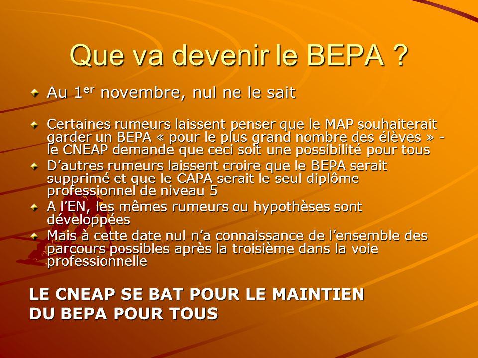 Que va devenir le BEPA .