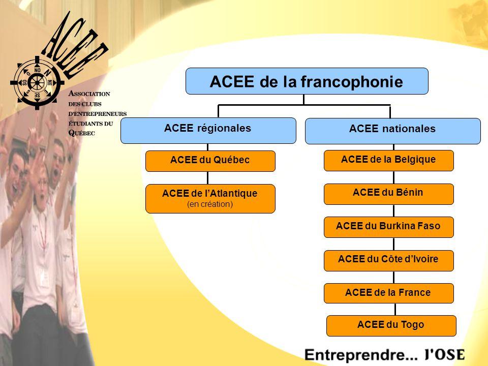 ACEE nationales ACEE régionales ACEE de la France ACEE du Côte d'Ivoire ACEE du Togo ACEE du Burkina Faso ACEE du Bénin ACEE de la Belgique ACEE de l'Atlantique (en création) ACEE du Québec ACEE de la francophonie