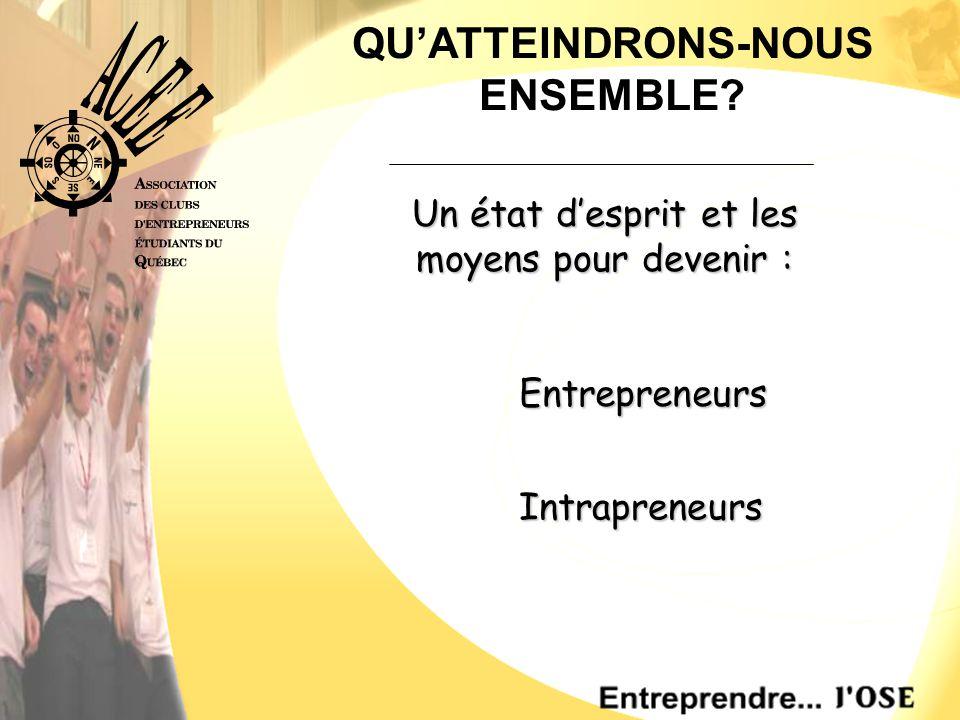 Entrepreneurs Entrepreneurs QU'ATTEINDRONS-NOUS ENSEMBLE.
